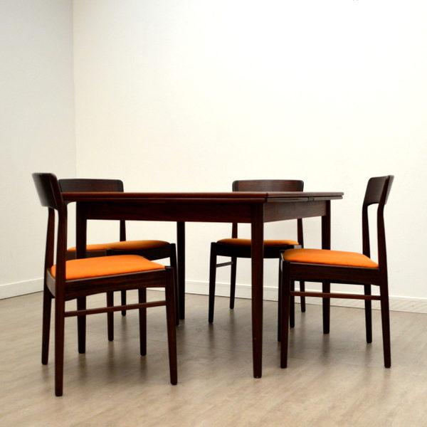 Table et chaises en Palissandre de Rio Vintage