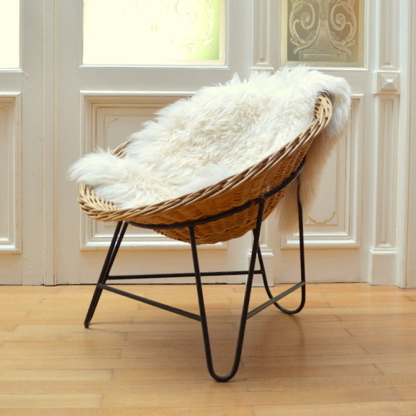 fauteuil en rotin ann es 50 60. Black Bedroom Furniture Sets. Home Design Ideas