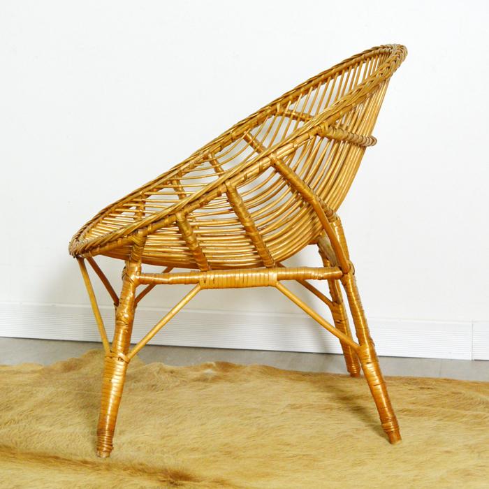 fauteuil en rotin ann es 60. Black Bedroom Furniture Sets. Home Design Ideas