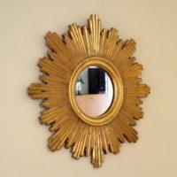 Miroir soleil en bois doré vintage