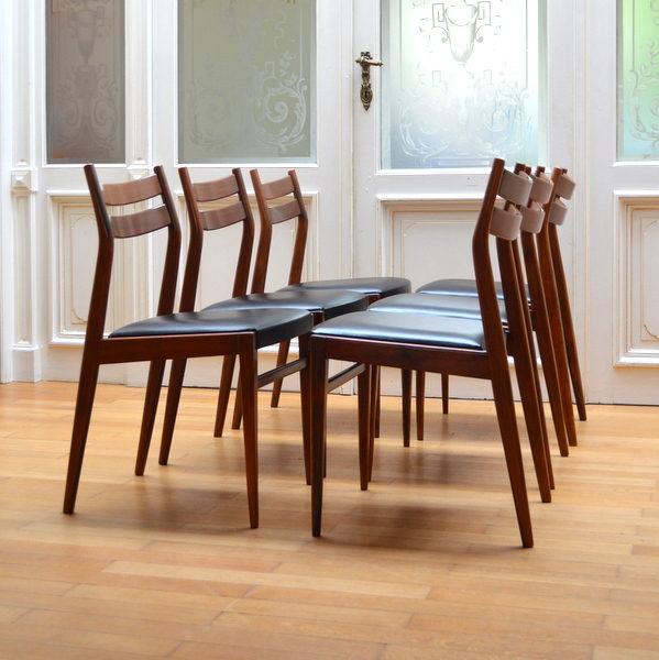 Six chaises scandinave palissandre vintage 1950 39 - Chaises scandinaves vintage ...
