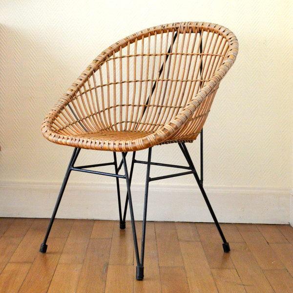 fauteuil en rotin ann es 50. Black Bedroom Furniture Sets. Home Design Ideas