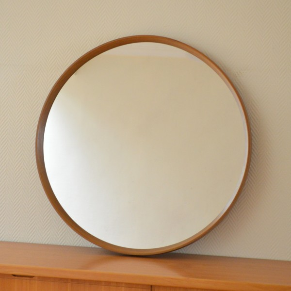 Grand miroir rond vintage for Miroir antique en bois