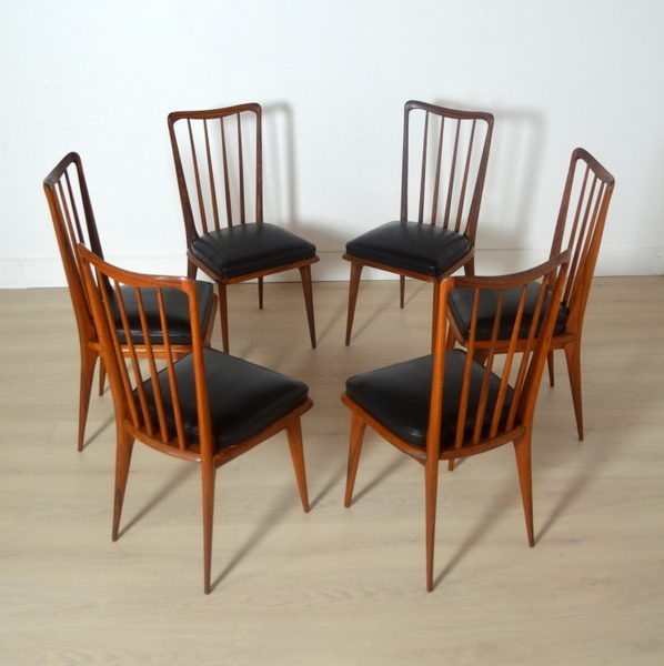 Six chaises Charles Ramos années 60