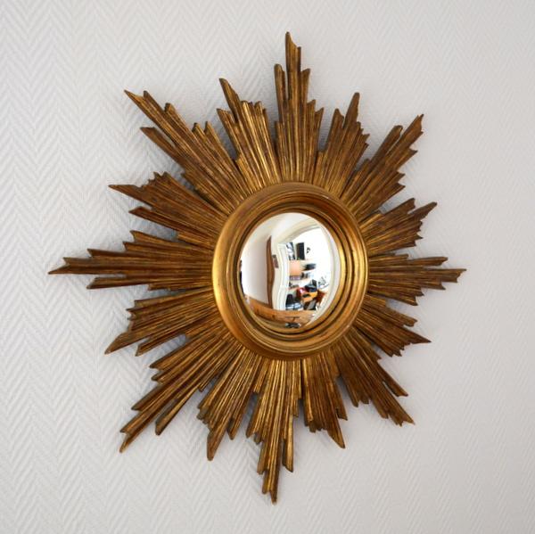 Grand miroir soleil ann es 50 for Miroir soleil en bois