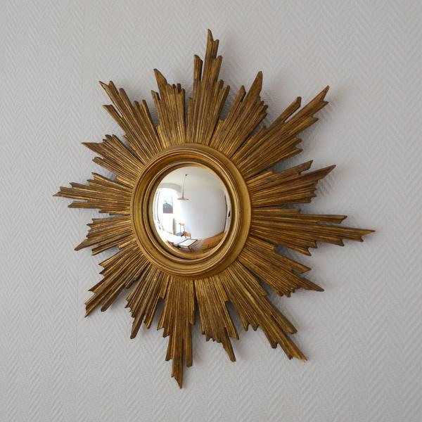 Grand miroir soleil ann es 50 for Miroir soleil bois