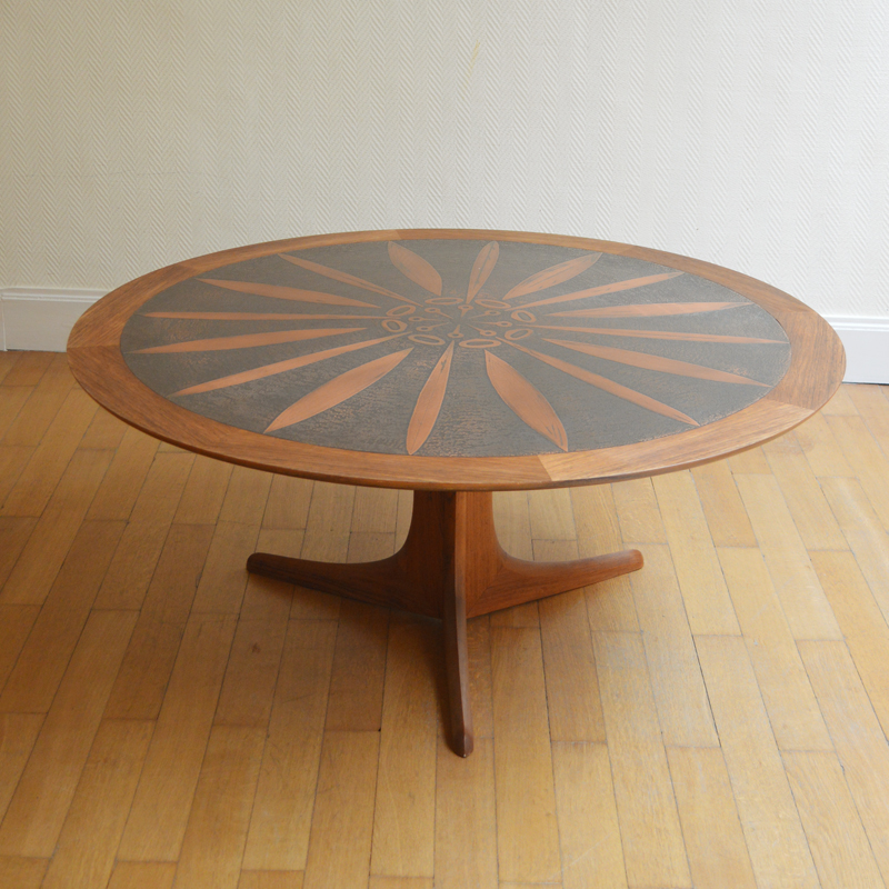 Grande table basse ronde teck ico louisa parisi - Grande table basse ronde ...