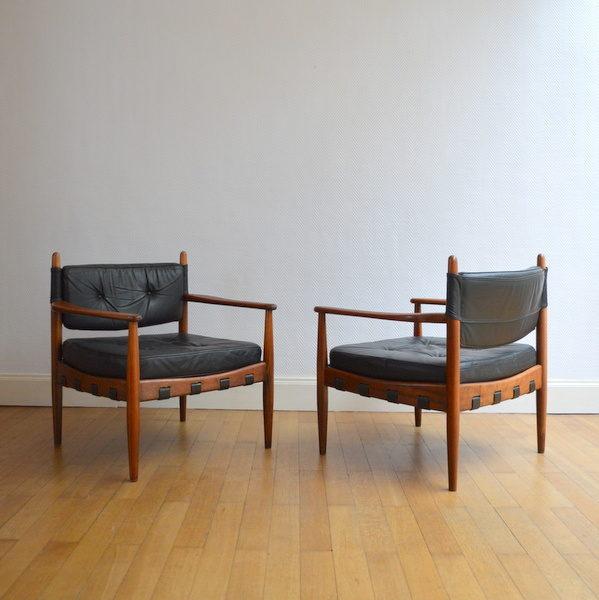 Paire de fauteuils Scandinave Teck et Cuir vintage