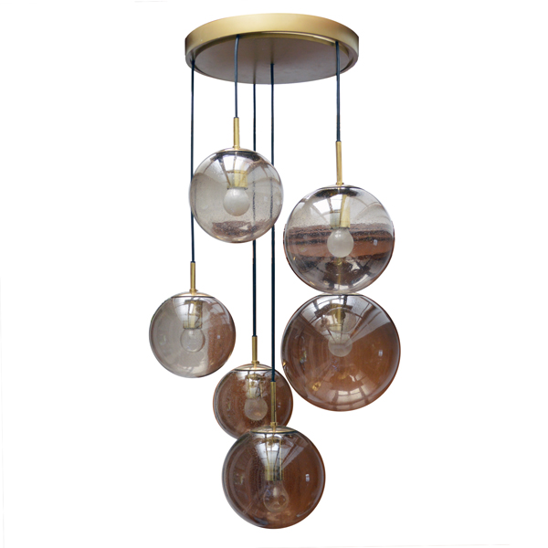 Lampe pendante/ Plafonnier Glashütte Limburg  1970 vintage