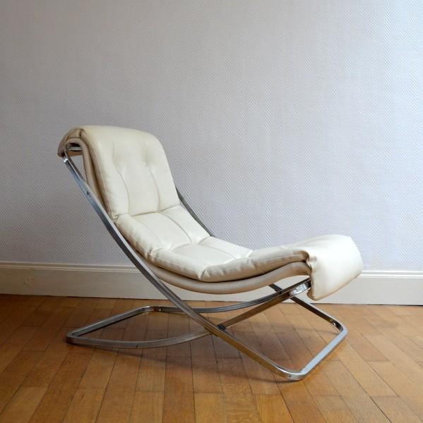 Chaise longue fauteuil en m tal chrom et cuir 1970 - Chaise metal et cuir ...