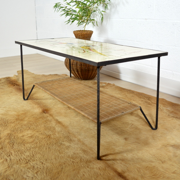 table basse double plateau ann es 50. Black Bedroom Furniture Sets. Home Design Ideas