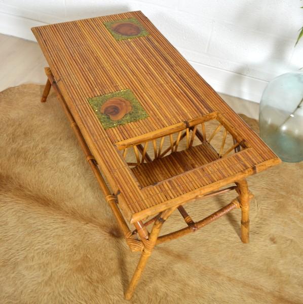 Table basse en rotin double plateau années 50