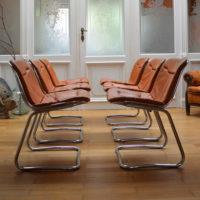 Six chaises métal et cuir années 70