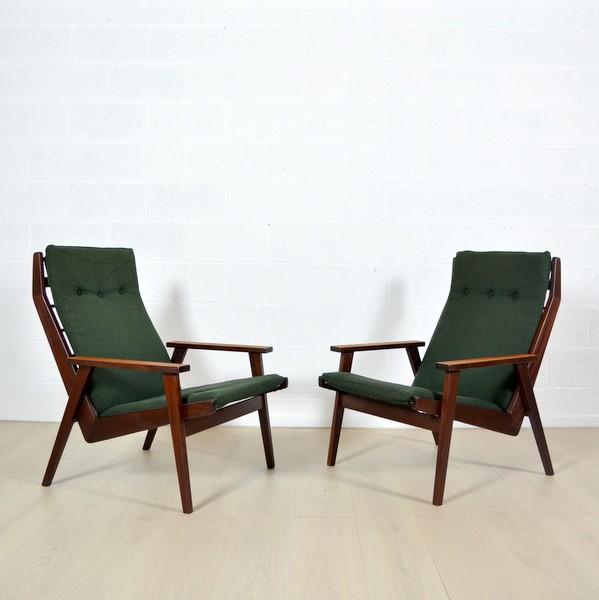 Paire de fauteuils lounge Rob Parry années 50