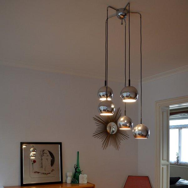Suspension – Lampe pendante en cascade années 70