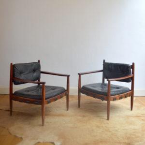 paire de fauteuils bois de rose années 70 vintage 22