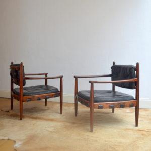 paire de fauteuils bois de rose années 70 vintage 8