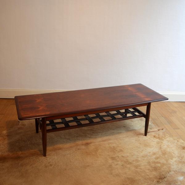 Table basse années 60 Danish Teck et Cuir