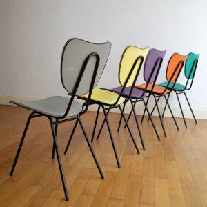 5 chaises colorés années 50 vintage 17