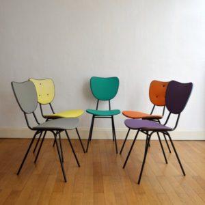 5 chaises colorés années 50 vintage 5