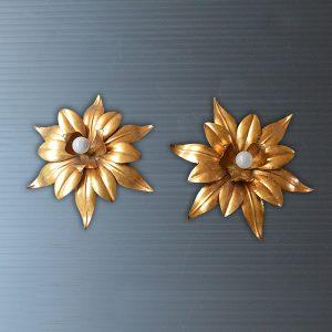 paire d'Appliques fleurs dorés vintage 1