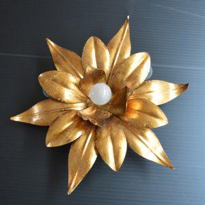 paire d'Appliques fleurs dorés vintage 3