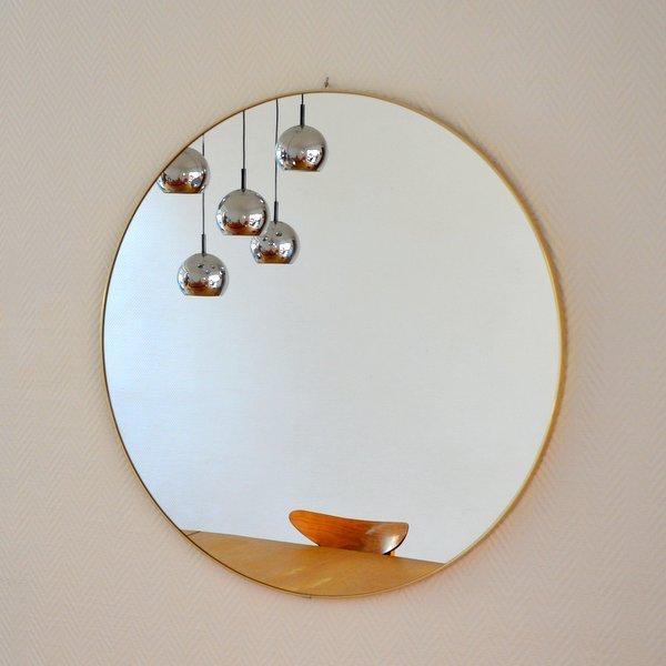 Grand miroir rond années 50 / 60