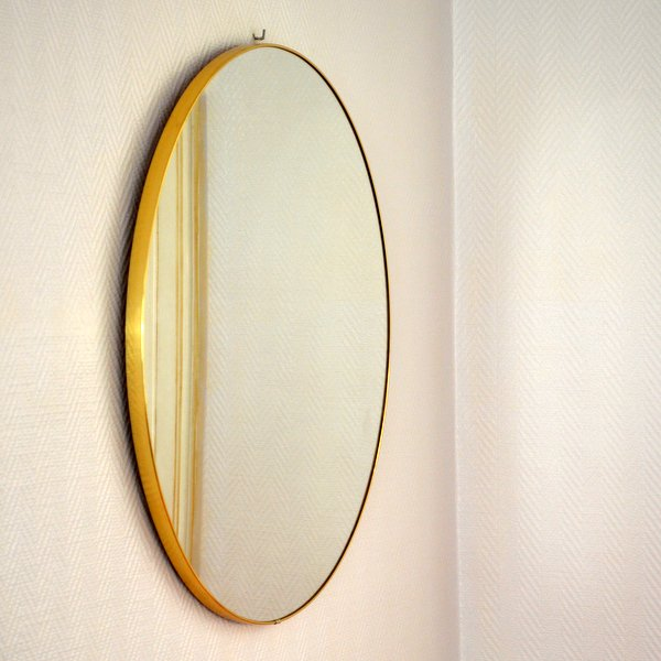 Grand miroir rond ann es 50 60 for Miroir annees 50