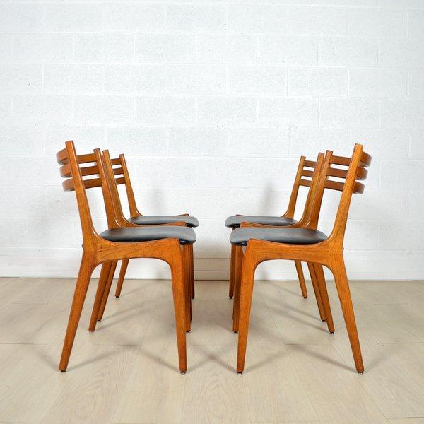 suite de quatre chaise ks denmark ann es 60. Black Bedroom Furniture Sets. Home Design Ideas