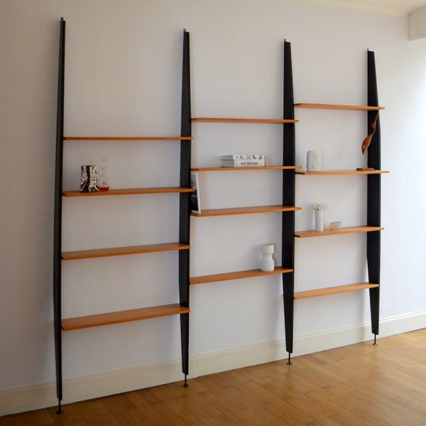 syst me d 39 tag res modulable biblioth que ann es 60. Black Bedroom Furniture Sets. Home Design Ideas