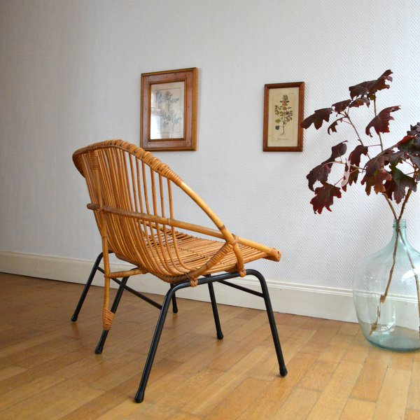 banquette en rotin et m tal ann es 50. Black Bedroom Furniture Sets. Home Design Ideas