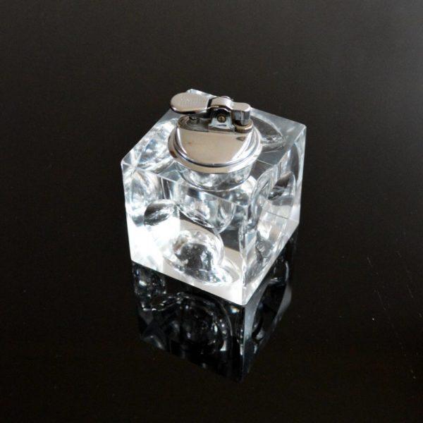 Briquet de table cube en verre année 70