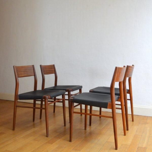 Chaises scandinave teck et cuir années 60