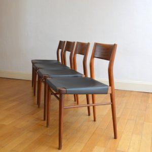 chaises scandinave teck et cuir vintage 12