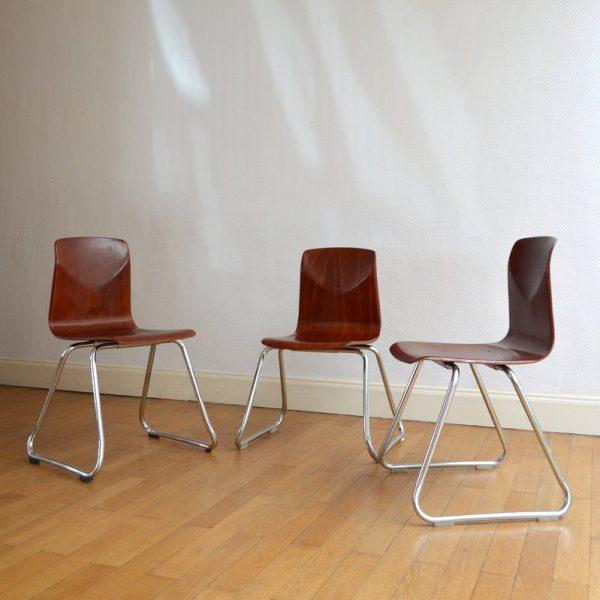 Trois chaises Pagholz années 60