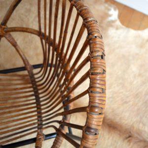 Fauteuil rotin pieds métal vintage 15