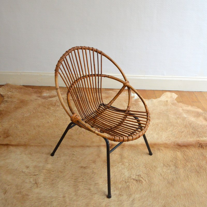 fauteuil corbeille en rotin et m tal ann es 50. Black Bedroom Furniture Sets. Home Design Ideas