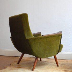 Paire de fauteuils années 50 kaki vintage 19