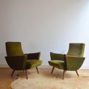 Paire de fauteuils années 50 kaki vintage 3