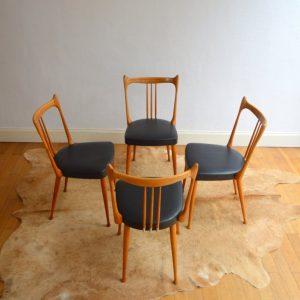 Quatre chaises Stevens Pays Bas 1950 vintage 3