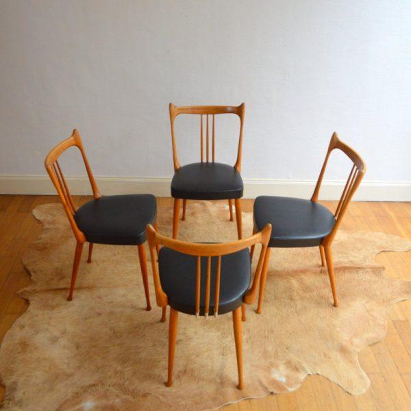 Suite de quatre chaises de Stevens années 50
