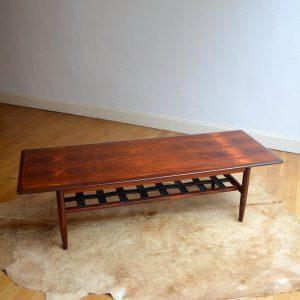 Table basse années 60 Danish Teck et Cuir vintage 17