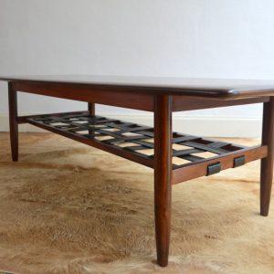 Table basse années 60 Danish Teck et Cuir vintage 21