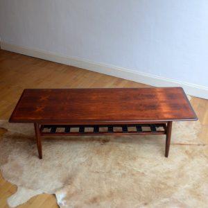 Table basse années 60 Danish Teck et Cuir vintage 5