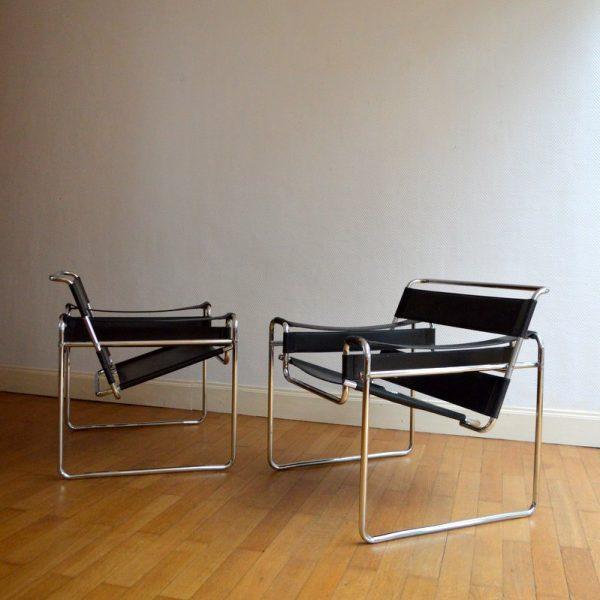 Paire de fauteuils Wassily par Marcel Breuer 1970s