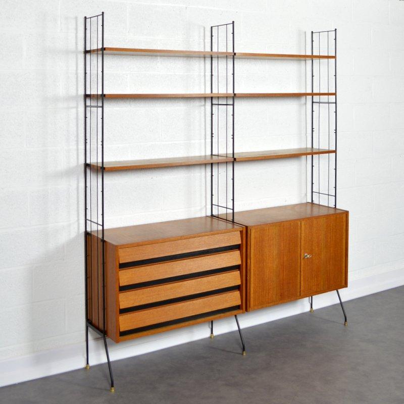 biblioth que modulable sur pieds 1960s. Black Bedroom Furniture Sets. Home Design Ideas