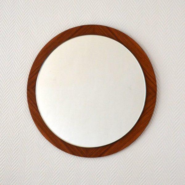 Miroir rond scandinave teck 1970s
