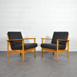 Paire de fauteuils scandinave 1960 vintage 2