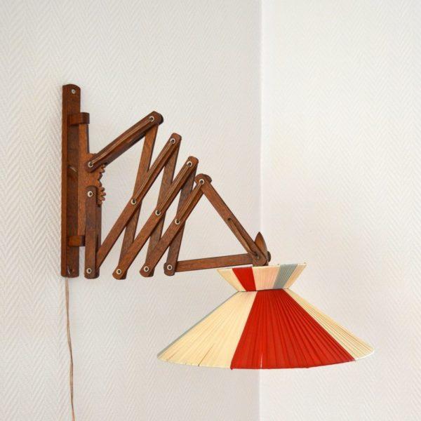 Applique – Lampe accordéon scandinaveannées 60 teck