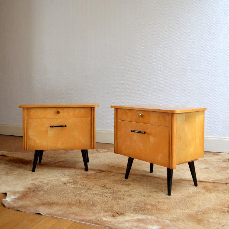 paire de chevets vintage 1950s. Black Bedroom Furniture Sets. Home Design Ideas